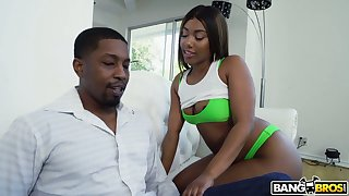 Big racked chocolate GF Chanell Heart takes long BBC into their way cooch