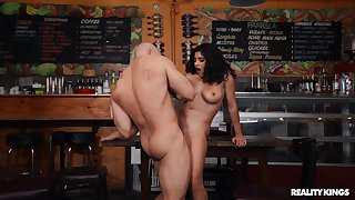 Brunette sucks and rides in perfect exertion