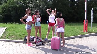 Dabbler outdoor lesbian fuck fest with a team of two of horny girls