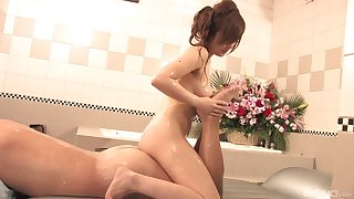 Japanese with big tits, soapy massage coupled with oral sex