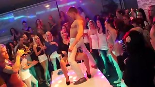 Amateur fucking during a liberal party with handsome male strippers