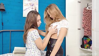 Smooth lesbian sex unemployed adorable best friends Elison and Kecy Hill