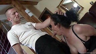 Horny granny Marianna is having vituperative sex with young student