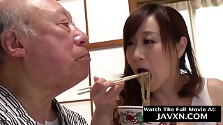 Japanese Babe Helps Out Grandpa