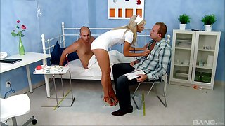 MMF threesome in the hospital surrounding sexy nurse Honey Winter