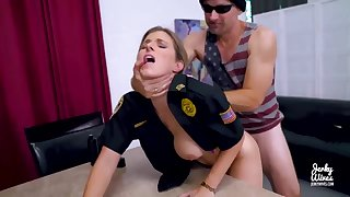 Light-Haired cop is getting plowed from the back while christen increased by lovin' it a plenty of