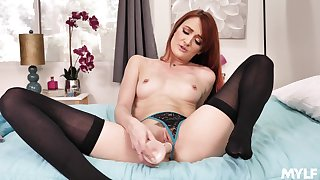 Sexy taboo JOI close by radiant red-haired older woman Andi Barley-bree