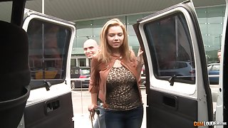 Big-busted Russian teen Marina enjoying some steamy fuck in the backseat of a van