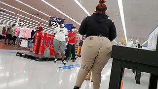 Bbw Walmart employee fat booty wedgie see thru