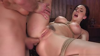 Busty neonate deep throat and anal banged