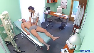 Nurse Mea Melone ties his penis helter-skelter her frowardness and they fuck