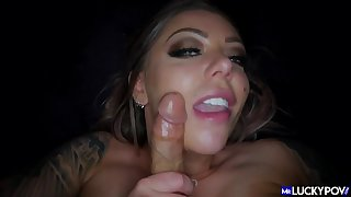 POV pussy fuck added to cock sucking with Karmen Karma