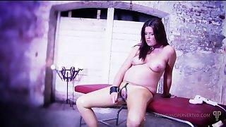 Horny brunette masturbates using her dildo added to a cruel mind